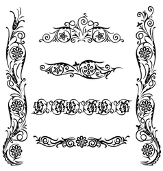 set calligraphic design flower ornament vector image