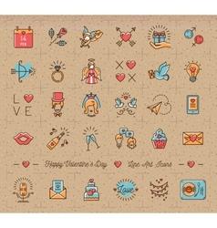 Retro valentine icon vintage love symbols flat vector