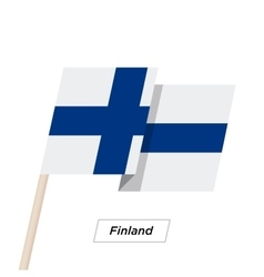Finland ribbon waving flag isolated on white vector