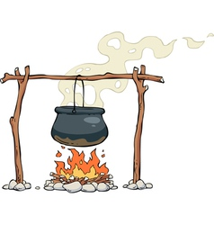 pot over the fire vector image