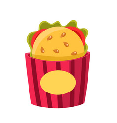 Sandwich in paper holder cinema and movie theatre vector