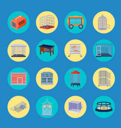 Animal cage icons collection vector