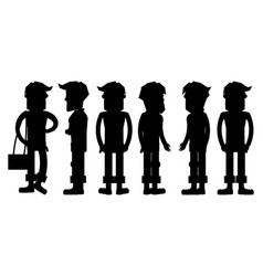 Set of hipster characters silhouettes vector