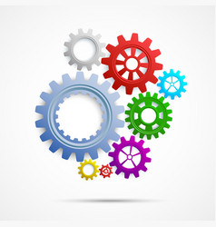 Colorful gears on white isolated background vector