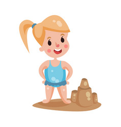cute little girl wearing blue swimsuit playing vector image