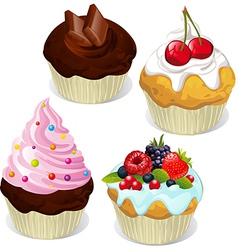 Cupcakes and muffins different flavors and colors vector