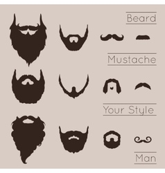 Beards and mustaches set vector