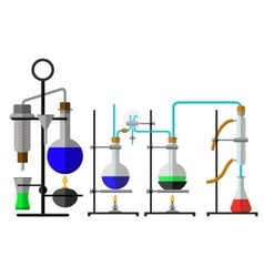 Set laboratory flask chemical vector