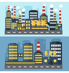 Horizontal banners with factory buildings vector