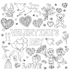Valentines day doodles set vector