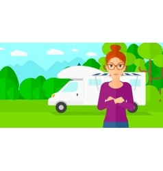 Woman standing in front of motor home vector