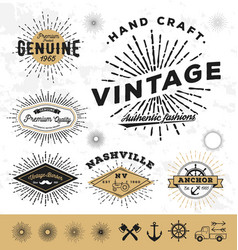 Vintage sunburst logo elements vector