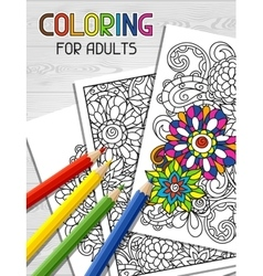 Adult coloring book design for cover vector