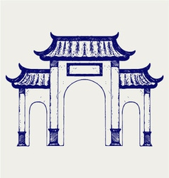 Ancient Chinese gate vector image vector image