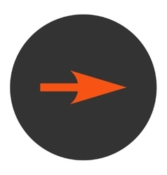 Arrow axis x flat orange and gray colors round vector