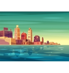 beautiful sunrise over cartoon city with vector image vector image
