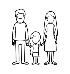 Black thick contour caricature faceless family vector