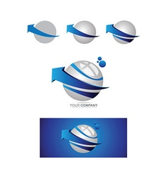 Blue arrow sphere 3d logo vector image vector image