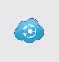 Blue cloud football ball icon vector
