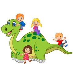Cartoon little kid playing on the dinosaur vector