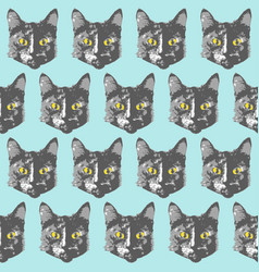 cats pattern cartoon seamless animal wallpaper vector image