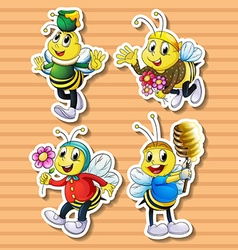 Cute bee in costumes vector