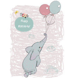 Cute elephant fly with balloons vector
