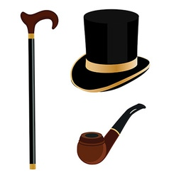 Cylinder smoking pipe and walking stick vector image