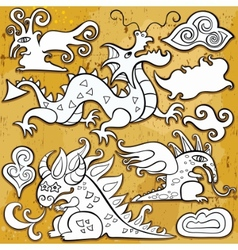 dragon icon set vector image vector image