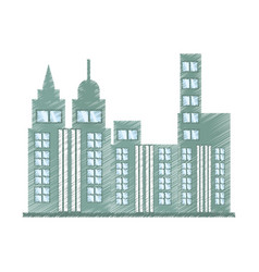 Drawing building skyscraper icon vector