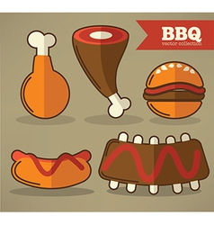 flat bbq collection vector image