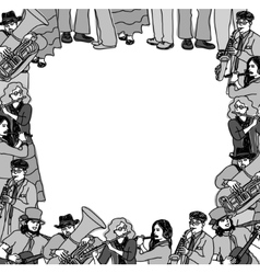 Frame border card musicians band monochrome vector image