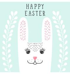 Funny bunny rabbit head in floral wreath happy vector