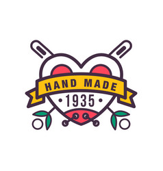 Handmade colorful logo template since 1935 retro vector
