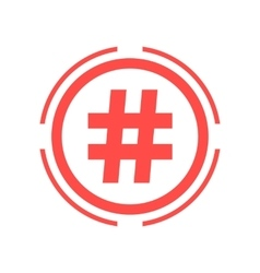 hashtag icon in red double circle vector image vector image