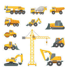 Heavy construction machines excavator bulldozer vector