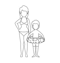 isolated women and boy vector image