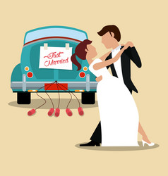 Just married couple dancing and car vector