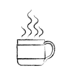 Monochrome blurred silhouette of hot coffee cup vector