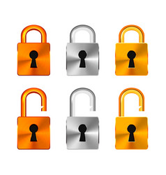 open and closed locks made from copper silver and vector image vector image