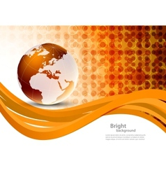 Orange background with globe vector image vector image