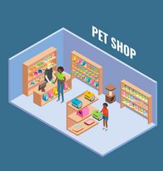 Pet shop cutaway interior flat isometric vector
