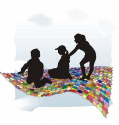 puzzle and children vector image vector image