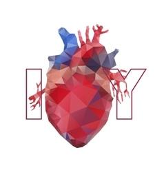 Realistic polygonal heart vector