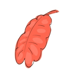 Red oak leaf icon cartoon style vector image