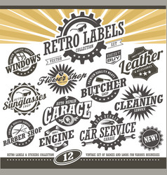 Retro labels and stickers collection vector