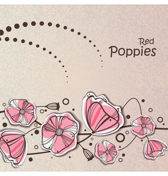 retro red poppies vector image vector image