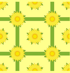 seamless pattern of yellow flowers with ribbons vector image