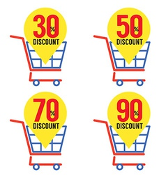 Set Of Shopping Basket Discount vector image vector image