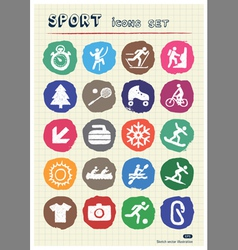 Sport web icons set drawn by chalk vector image